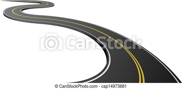 Abstract asphalt road isolated on white background. - csp14973681