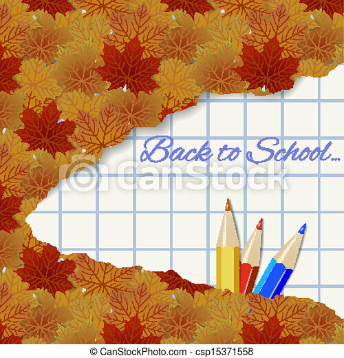 Abstract autumn background with maple leaves and pencils - csp15371558