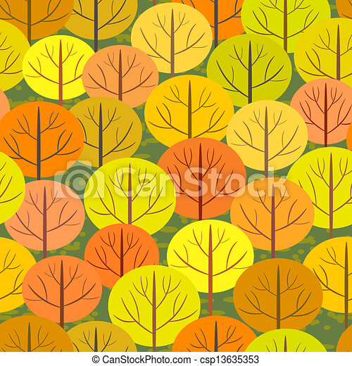 abstract autumn forest seamless background - csp13635353
