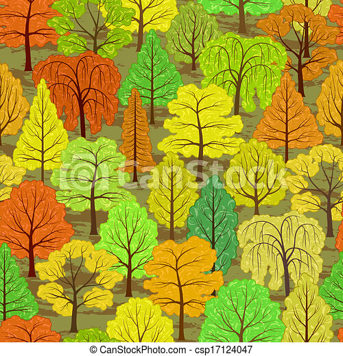 abstract autumn forest seamless background - csp17124047