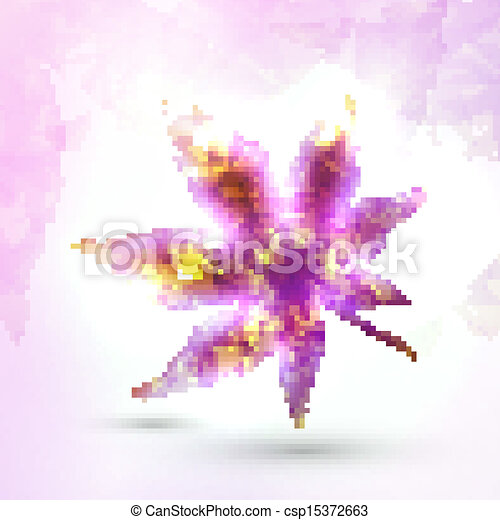 Abstract autumn leaf on colorful background, vector illustration eps10 - csp15372663