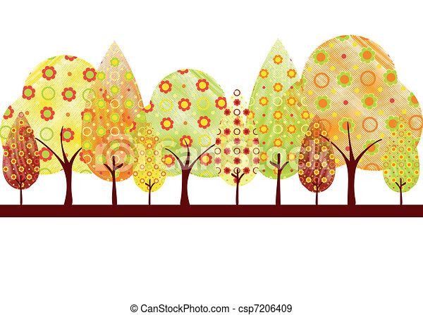 Abstract autumn tree greeting card - csp7206409