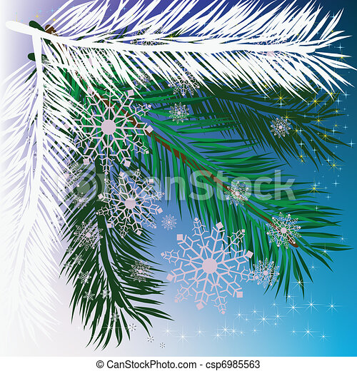 abstract background christmas tree with snowflakes - csp6985563