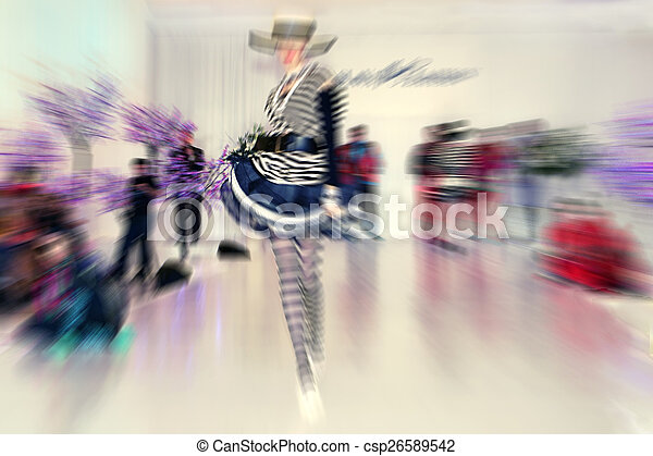 Abstract background - fashion model on catwalk - radial zoom blu - csp26589542