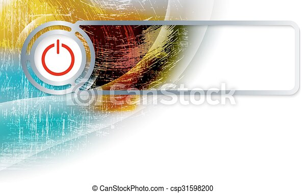 Abstract background in the corner and Vector frame with power button - csp31598200