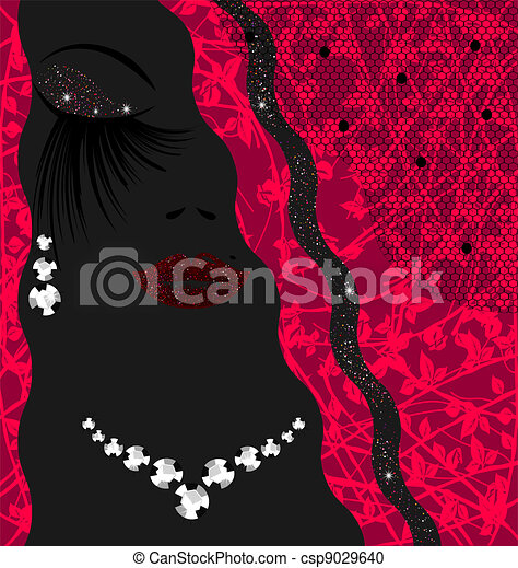 abstract background lady with jewelry - csp9029640