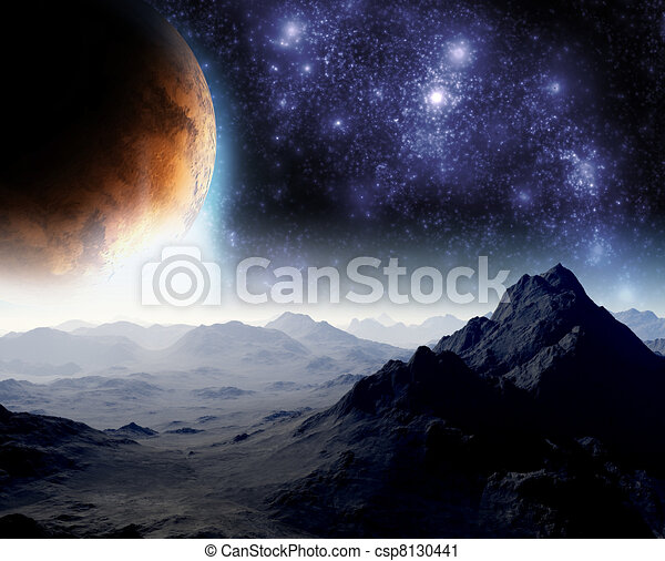 Abstract background of deep space. In the far future travel. New technologies and resources. - csp8130441