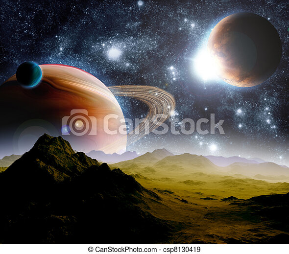 Abstract background of deep space. In the far future travel. New technologies and resources. - csp8130419