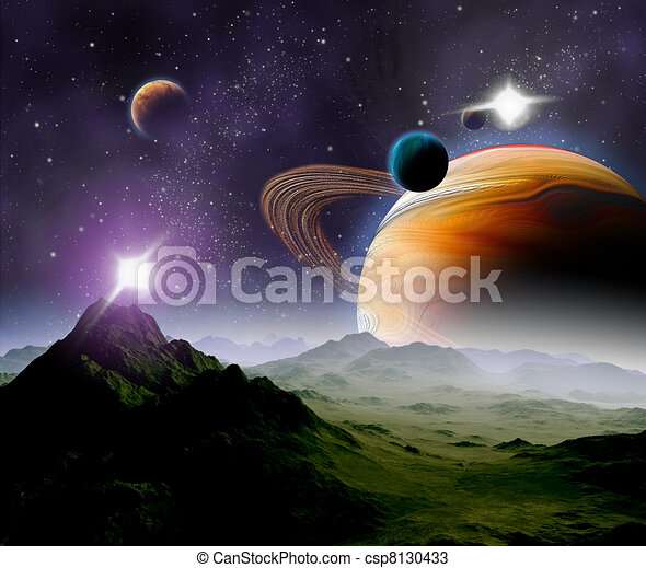 Abstract background of deep space. In the far future travel. New technologies and resources. - csp8130433