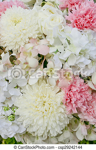 Abstract background of flowers  Close-up floral wedding backdrop