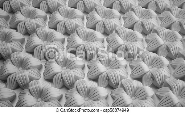 Abstract background of large flowers. Decorative molding - csp58874949