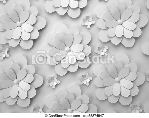 Abstract background of paper flowers. Monochrome 3D pattern. - csp58874947