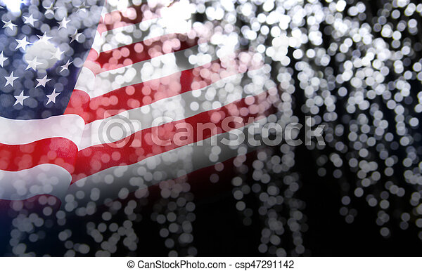 Abstract background of USA flag with bokeh - csp47291142