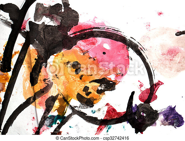 abstract background of watercolor - csp32742416