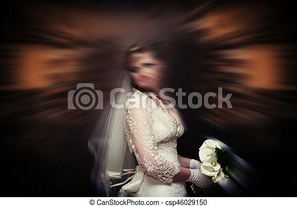 Abstract background . Wedding.  Radial zoom blur effect defocusing filter applied, with vintage instagram look. - csp46029150