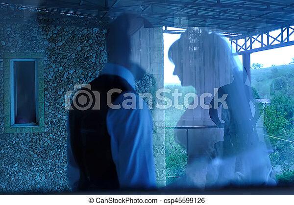 Abstract background . Wedding.  Zoom blur effect defocusing filter applied, with vintage instagram look. - csp45599126
