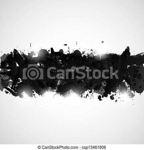 Abstract background with black paint splashes. - csp13461806