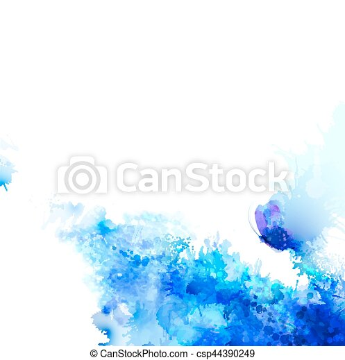 Abstract background with blue composition of watercolor blots and butterfly. - csp44390249