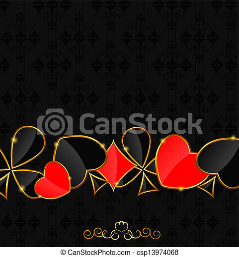 Abstract background with card suits for design. Vector illustration. - csp13974068