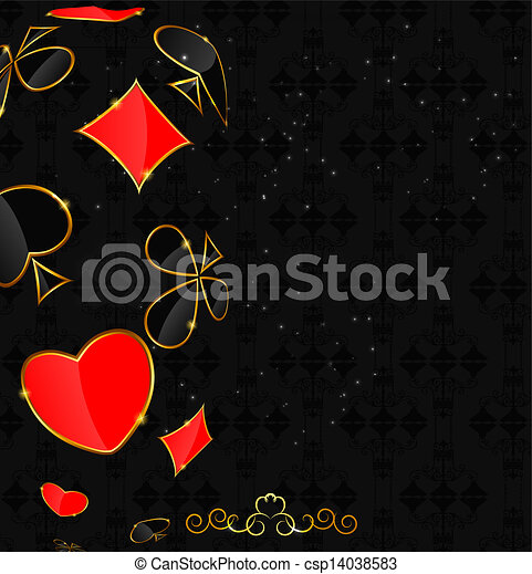 Abstract background with card suits for design. Vector illustration. - csp14038583