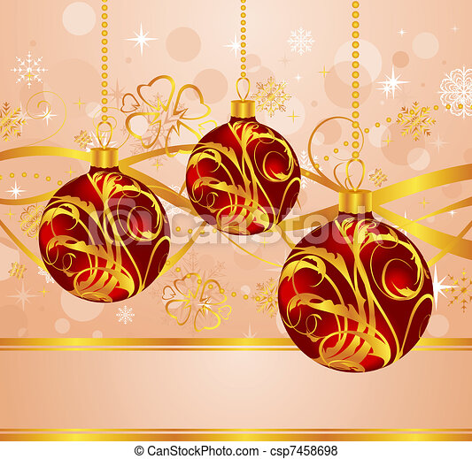 abstract background with Christmas balls - csp7458698