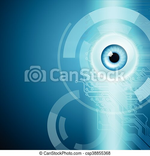 Abstract background with eye and circuit - csp38855368