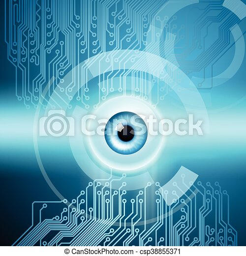 Abstract background with eye and circuit - csp38855371