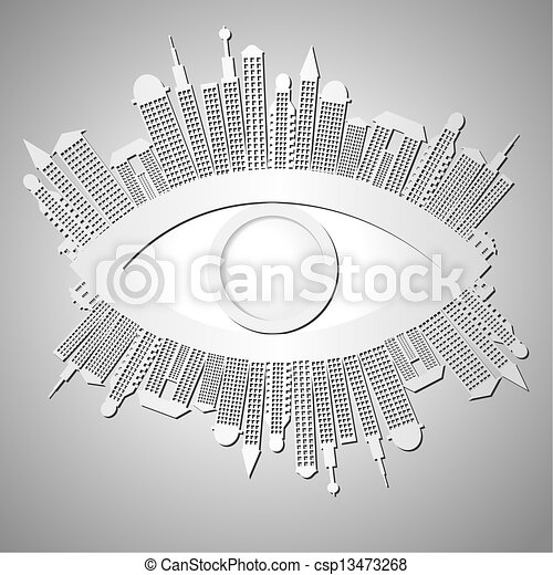 Abstract background with eye and buildings - csp13473268