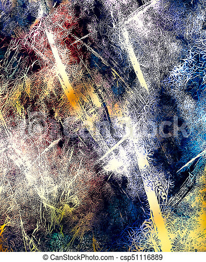 abstract background with filigrane fractal structure, expressional fine art graphic - csp51116889