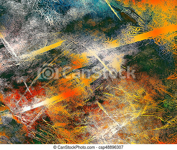 abstract background with filigrane fractal structure, expressional fine art graphic - csp48896307