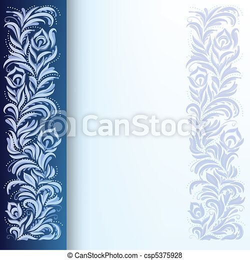 abstract background with floral ornament on blue - csp5375928