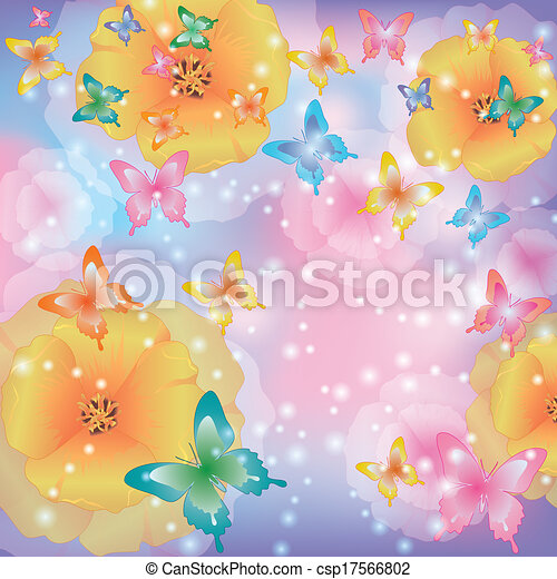 Abstract background with flowers and butterflies - csp17566802