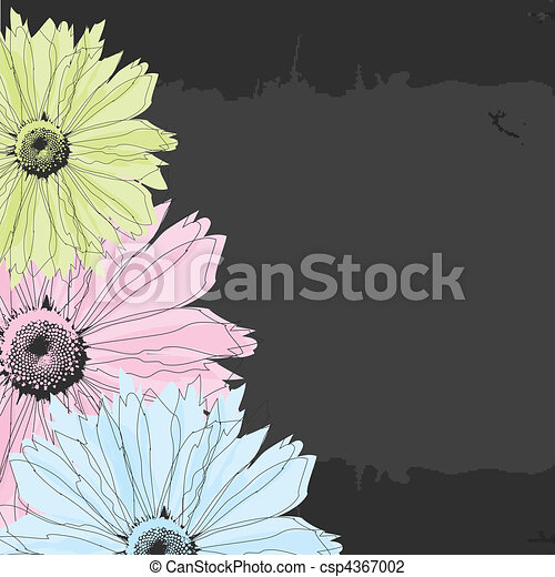 Abstract background with flowers - csp4367002