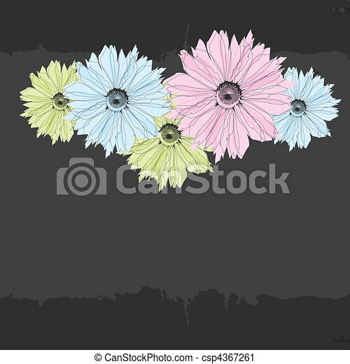 Abstract background with flowers - csp4367261