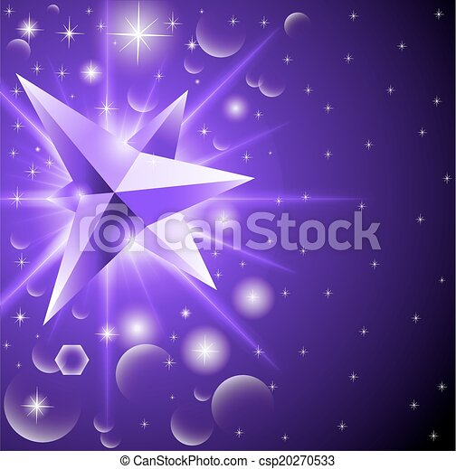 abstract background with glowing crystal among the stars - csp20270533