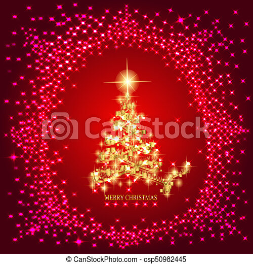 Abstract Background With Gold Christmas Tree And Stars Illustration In Red And Gold Colors