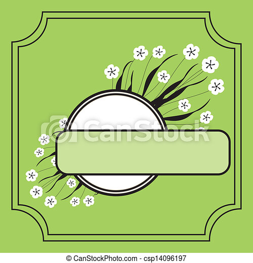 Abstract background with green flowers - csp14096197