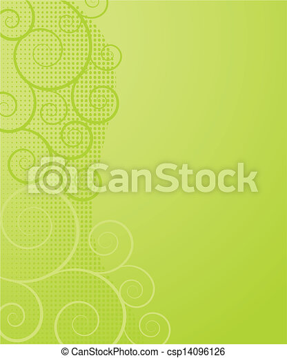 Abstract background with green flowers - csp14096126