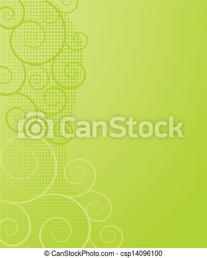 Abstract background with green flowers - csp14096100