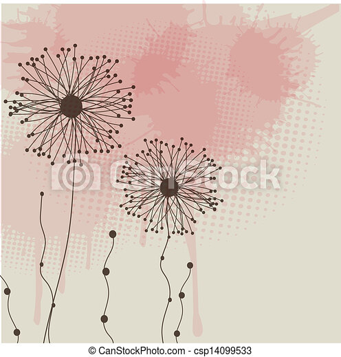 Abstract background with grey flowers - csp14099533