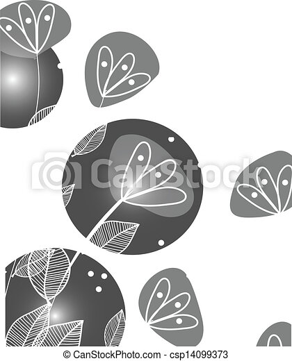 Abstract background with grey flowers - csp14099373