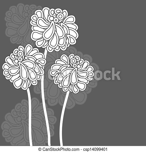 Abstract background with grey flowers - csp14099401