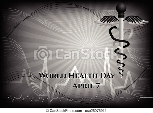 Abstract background with medical symbols. World Health day. Caduceus - csp26075911