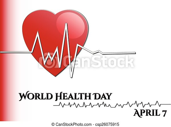 Abstract background with medical symbols. World Health day. Heart with rhythm - csp26075915