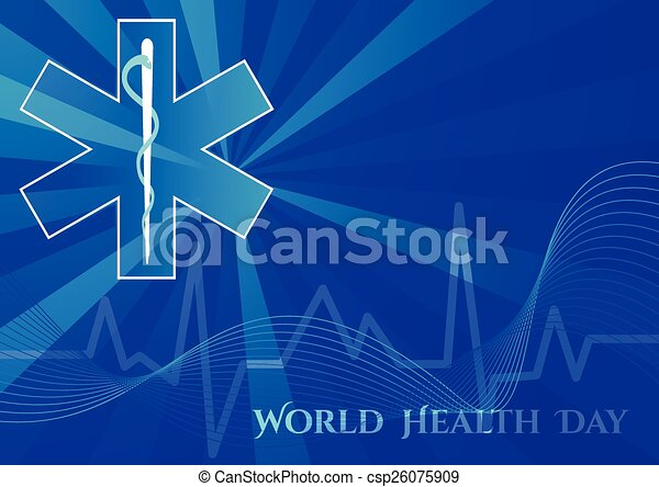 Abstract background with medical symbols. World Health day. Star of Life - csp26075909