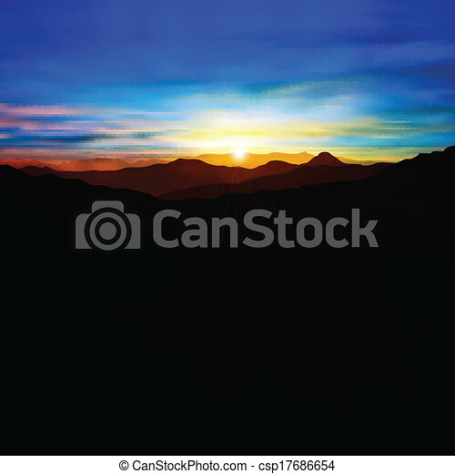 abstract background with mountains and sunset - csp17686654