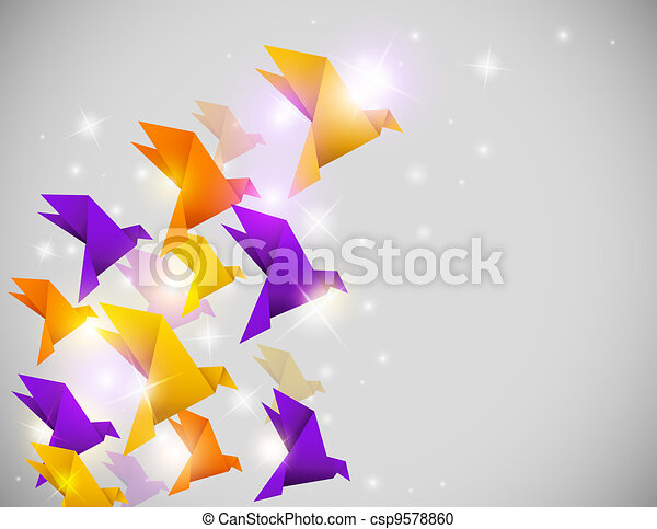 abstract  background with origami birds - csp9578860