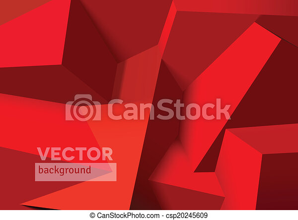 Abstract background with overlapping red cubes - csp20245609