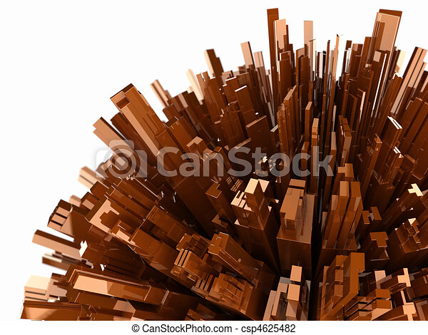 abstract background with plastic blocks, 3d render with depth of field, isolated on white - csp4625482