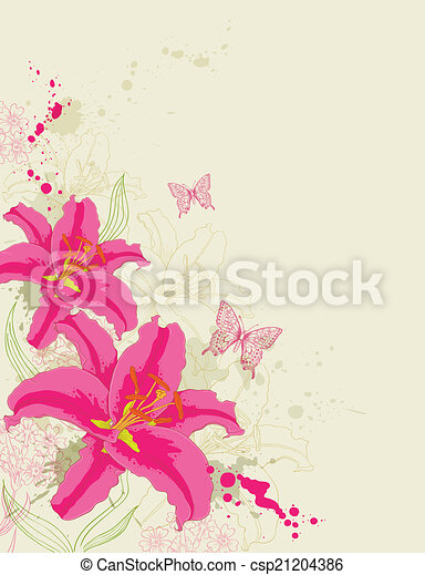 Abstract background with red flowers - csp21204386